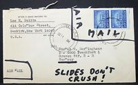 Monticello 20c Pair on US Airmail Envelope to Germany Dunkirk USA Letter (Y-25