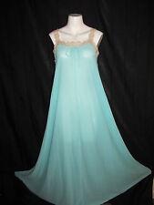 Vintage Olga Nightgown Aqua Small 100% Nylon Early 70s Lace Straps Style 9730