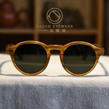 Retro Polarized Sunglasses Mens Johnny Depp Glasses Blonde G15 Green Lens Large