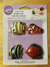"""""""NOS """" Wilton Industries TROPICAL FISH Candles & Cake Decorations Hand Painted!"""