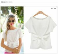 Blouse T-Shirt New V Neck Elegant Fashion Solid Short Sleeve Womens O Neck Loose