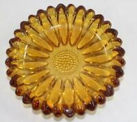 Vintage Daisy Flower Pattern Amber Art Glass Ashtray ~ Mid Century Modern