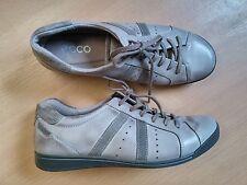 Damen Schuhe Sneakers Schnürer ECCO Gr 38 grau  Leder Top Zustand