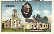 Calvin Coolidge Born 1872 PLYMOUTH Vermont USA Multiview C.W. Hughes Postcard