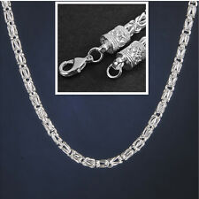 Men Geometry 6MM Fashion 20 Inch 925 Sterling Silver Plated Chain Link Necklace