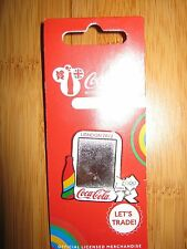 OLYMPICS LONDON 2012 COCA COLA LAPEL PIN MIRROR & BOTTLE DESIGN BADGE CARDED NEW