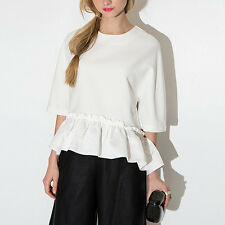 Ladies Women Elegant Ruffle Draped Blouse Tee Shirt Casual Asymmetric Top White