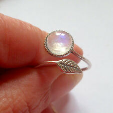 Fashion Women Opening Silver Plated Gemstone Feather Ring Adjustable Jewelry 1PC