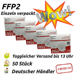 50x FFP2 Maske CE-zertifiziert 5-lagig Atemschutz Mundschutz