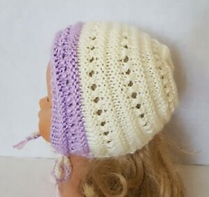Baby Girl Hat BONNET  knitted, Acrylic, Handmade, Ivory, Lavender trim, 3-6 mont
