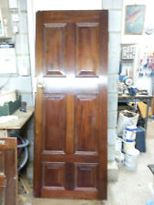 PAIR HANDSOME MAHOGANY DOORS THICK 6 PANEL GD CNDTN  ALL BRASS FITTINGS PRESENT