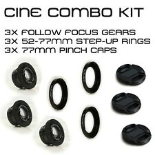 Canon FDn OUTLAST Cine Kit 3X Focus Gears, 3X 52-77mm 80mm OD Step-Up New FD nFD