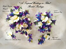 Blue Purple Dendibium Orchids With White Frangipani Bridal Teardrop Package (1)