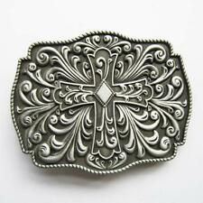 NEW 3-D SILVER CELTIC GOTHIC COWBOY CROSS BELT BUCKLE