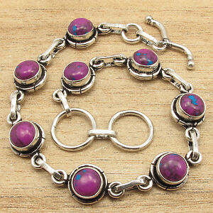 925 Silver Plated PURPLE COPPER TURQUOISE New Bracelet 7.6 Inch