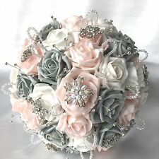 BRIDE, BRIDESMAIDS, BUTTONHOLES ARTIFICIAL WEDDING FLOWERS PINK GREY WHITE ROSES