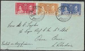 Northern Rhodesia 1937 sg 22-4 FDC Coronation set Postmarked ??? 12 May