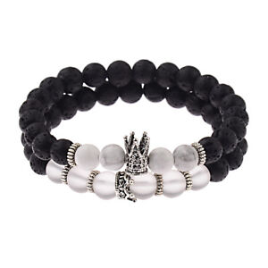 2Pcs/Set Fashion King and Queen Crown Natural Stone Couples Bracelets Jewelry