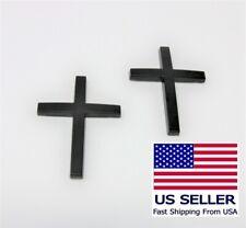 Set of 2 Christian Cross  in 3D Metal Car Body Emblem Sticker Decal Matte Black