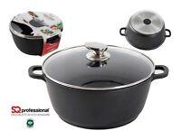 Deep Nonstick Induction Stockpot Oven Dish Casserole Pot Pan Cookware Lid Black