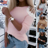 Womens Lace Cold Shoulder Tops Blouse Ladies Casual Long Sleeve Jumper Pullover