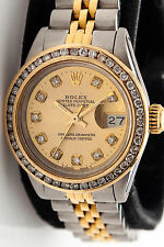 $12,000 2ct Diamond 18k SS Ladies Champagne ROLEX FACTORY Datejust Watch & BOX