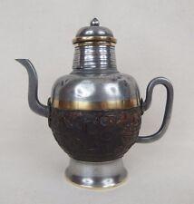 ancienne théière chinoise en étain et noix de coco / chinese tin coconut teapot