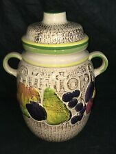 Scheurich Keramik Large RUMTOPF CANISTER CROCK LID Storage Jar 820-28 W. Germany