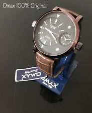 Omax Men's Retro Design Big Dial Time Black Dial Brown Leather Strap Watch New