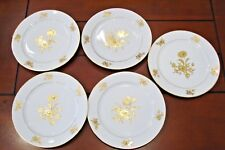 "Jlmenau Henneberg Porzellan Germany 5 Dinner Plates - Gold Trim - 10 3/8""across"