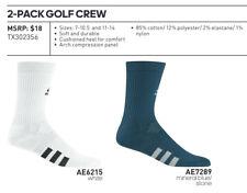 Adidas 2017 Golf Crew 2-Pack Mens Tube Socks (Fits size 7.5-11) Msrp $18