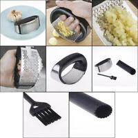 Garlic Press Stainless Steel Rocking Garlic Press With Cleaning Brush Peeler FT