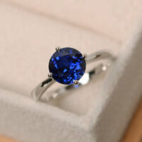 14K White Gold Rings 2.00 Ct Round Natural Blue Sapphire Wedding Ring Size N O