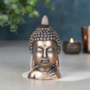 Bronze Buddha Head Backflow Cascade Smoke Incense Cone Burner Holder Gift Idea