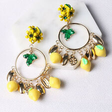 cute Plantain Baroque link drop runway fashion gold circle Lemon crystal earings