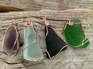 4 Pcs Wire Wrapped Sea Glass pendants Copper Wrap Necklace Boho Aluminum Autumn
