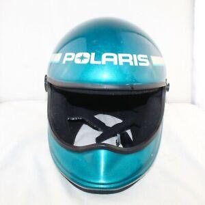 POLARIS men snowmobile no visor size Medium green DOT approved helmet great cond