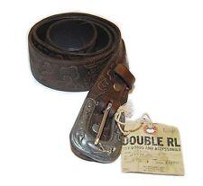Polo Ralph Lauren Double RL RRL Mens Vintage Western Tooled Leather Belt USA 30