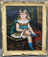1920s French impressionist oil painting of young girl signed indistinctly ??