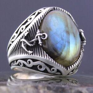 Solid 925 Sterling Silver Sailor's Anchor Natural Labradorite Stone Men's Ring