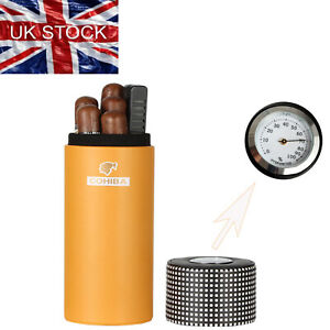 Cohiba Leather Travel Cigar Tube Humidor Cigars Case Box Humidifier Hygrometer