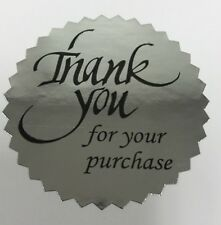 "100 Thank You For Your Purchase 2"" STICKER Starburst Silver Foil NEW THANK YOU"