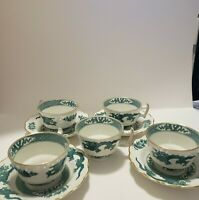 Booths Dragon 5 Demitasse Cups & 4 Saucers 1pt Handle Green Vintage Rare England