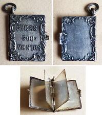 Pendentif livre miniature en ARGENT massif 19e siècle Souvenirs silver pendant