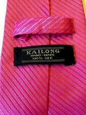 HAND MADE KAILONG PINK 100% PURE SILK MIX MENS TIE EXCELLENT CONDITION #  360