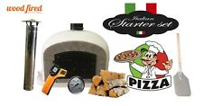 Outdoor wood fired Pizza oven 90cm grey Deluxe greybrickblackdoor package