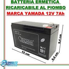 BATTERIA AL PIOMBO 12V - 7Ah AMPERE - RICARICABILE ERMETICA YAMADA ANTIFURTO UPS