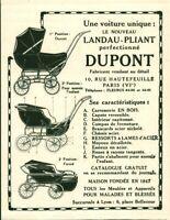 Publicité ancienne landau-pliant Dupont 1925 issue de magazine