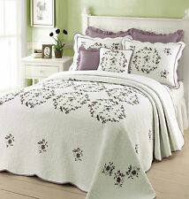 CLASSIC XXXL OVER SIZED WHITE GREEN PURPLE LAVENDER VINE QUILT BEDSPREAD KING