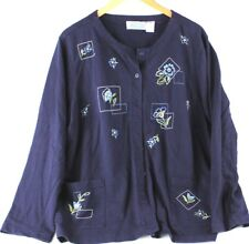 Extra Shenanigans Womens Long Sleeve Button Down Embroidered Shirt 2XL